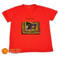 Camisa con Mola Rojas